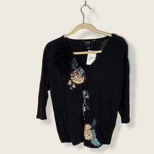 Desigual Cross Front Black 3/4 Sleeve Blouse